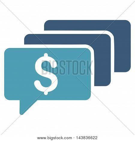 Money Messages icon. Vector style is bicolor flat iconic symbol with rounded angles, cyan and blue colors, white background.