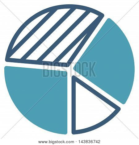 Pie Chart icon. Vector style is bicolor flat iconic symbol with rounded angles, cyan and blue colors, white background.