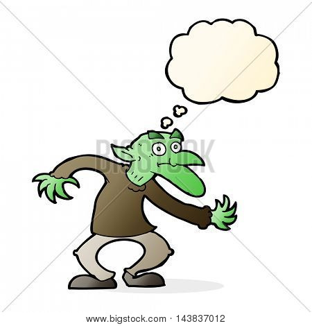 cartoon goblin with thought bubble
