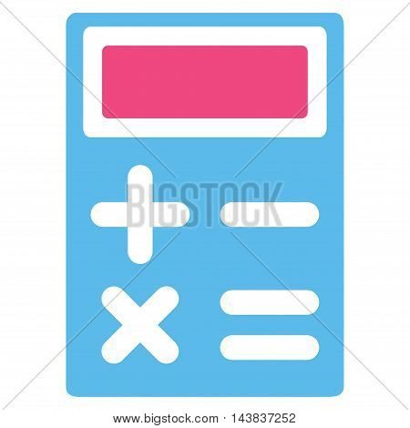Calculator icon. Vector style is bicolor flat iconic symbol with rounded angles, pink and blue colors, white background.