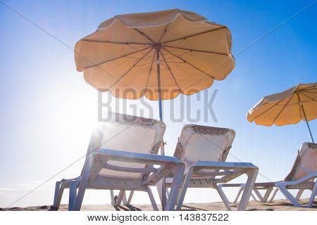 Parasols and chairs