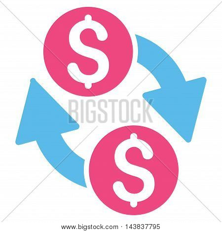 Dollar Exchange icon. Vector style is bicolor flat iconic symbol with rounded angles, pink and blue colors, white background.
