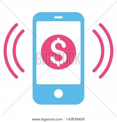 Payment Phone Ring icon. Vector style is bicolor flat iconic symbol with rounded angles, pink and blue colors, white background.