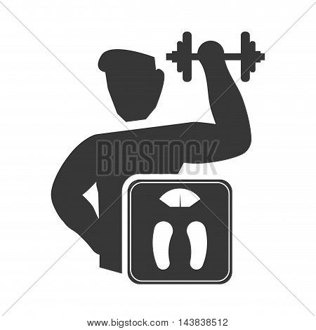 scale weight lifting man healthy lifestyle fitness silhouette icon. Flat and Isolated design. Vector illustration