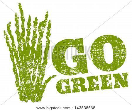 Vector vintage logo go green with grass