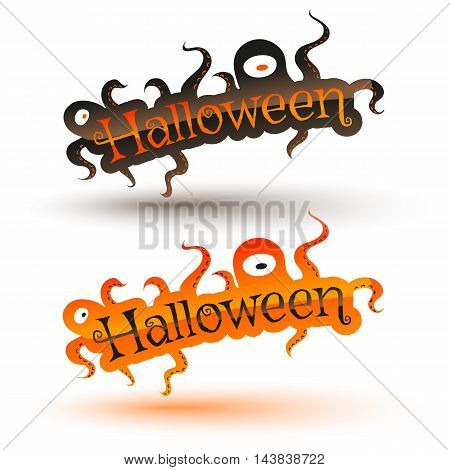 Vector set banners for Halloween with monsters