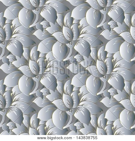 Light white stylish modern floral vector seamless pattern background with vintage big white volumetric  flowers and ornaments with silver outline.Luxury  illustration and 3d vintage decor elements with shadow and highlights. Endless elegant  texture.