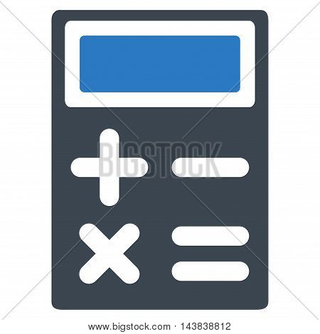 Calculator icon. Vector style is bicolor flat iconic symbol with rounded angles, smooth blue colors, white background.