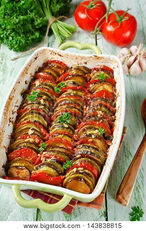 Ratatouille - traditional French Provencal vegetable dish cooked in oven. Homemade preparation recipe healthy diet