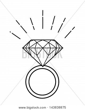 Outline illustration of ring with diamond isolated on white