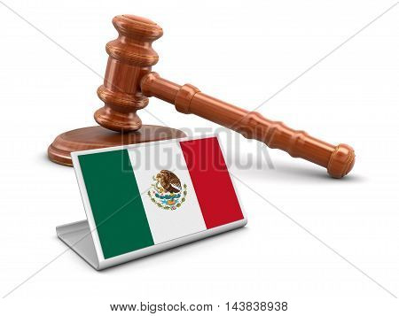 3D Illustration. 3d wooden mallet and Mexican flag. Image with clipping path