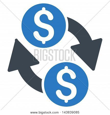 Dollar Exchange icon. Vector style is bicolor flat iconic symbol with rounded angles, smooth blue colors, white background.