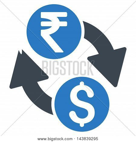 Dollar Rupee Exchange icon. Vector style is bicolor flat iconic symbol with rounded angles, smooth blue colors, white background.