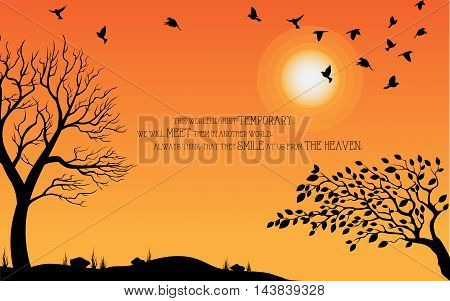 Heaven illustration on theme of Halloween. Bird, tree, moon, and stone silhouette on cemetery in autumn afternoon ambience. Wishes for Happy Halloween. Trick or treat. Vector illustration