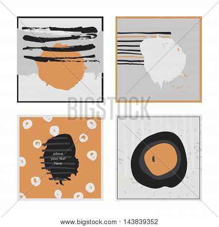 White abstract square cards hand drawn with brush and stripes brush blobs and smears. Grey and orange accents. Vector illustration set good for print or presentation design. Text holders for text