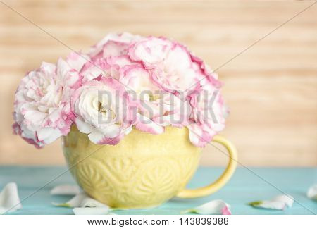 Beautiful flowers in vase on light background