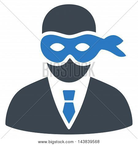 Masked Thief icon. Vector style is bicolor flat iconic symbol with rounded angles, smooth blue colors, white background.