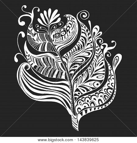 Hand drawn vector feather Tribal ornament for fashion and wallpaper