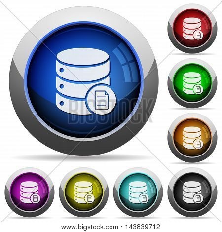 Set of round glossy Database properties buttons. Arranged layer structure.