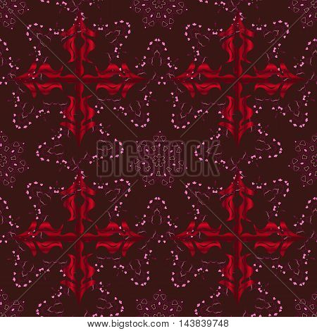 Vector boho chic flower seamless pattern. Mandala design element. Unusual flourish ornament. Red pink lilac. Vector illustaration.