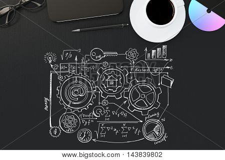 Top view of black desktop with business sketch coffee cup glasses smartphone and other items. 3D Rendering