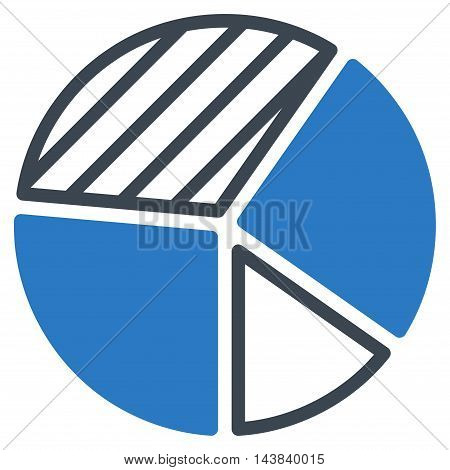 Pie Chart icon. Vector style is bicolor flat iconic symbol with rounded angles, smooth blue colors, white background.
