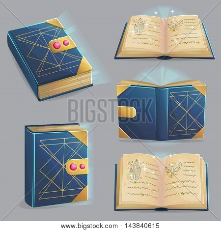 Ancient magic book with alchemy recipes and mystic spells and enchantments, dusty old pages and mysterious cover, different positions, front, back, open, closed. Game, graphic and app design elements.