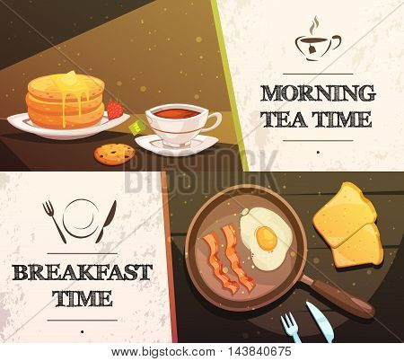 Breakfast time and morning tea two flat horizontal banners with cap of tea cake toast and pan with fried eggs vector illustration