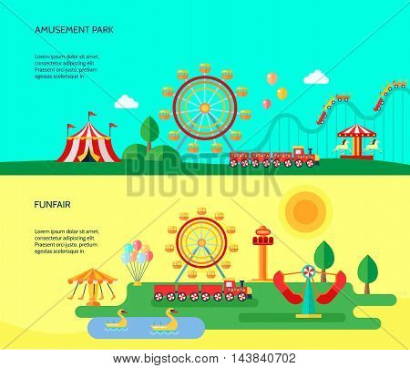 Amusement funfair park park attractions 2 flat horizontal banners with traveling circus tent abstract isolated vector illustration