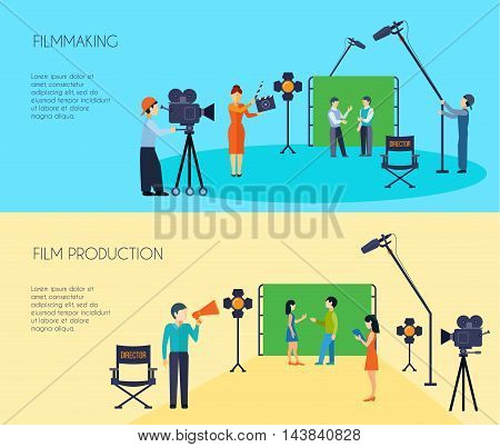 Filmmaking movie scene shooting 2 flat horizontal banners set with director cameraman and assistant isolated vector illustration