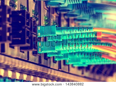 fiber optic servers and hardwares in an internet data center
