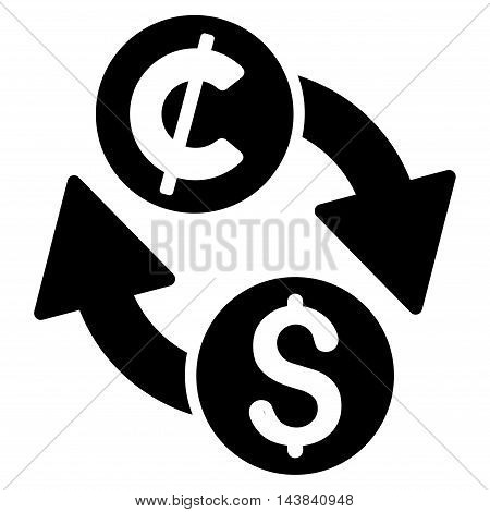 Dollar Cent Exchange icon. Vector style is flat iconic symbol with rounded angles, black color, white background.