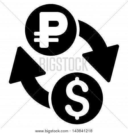 Dollar Rouble Exchange icon. Vector style is flat iconic symbol with rounded angles, black color, white background.