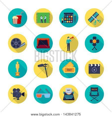 Filmmaking and movie release attributes flat round icons collection with film bobbin and tickets isolated vector illustration
