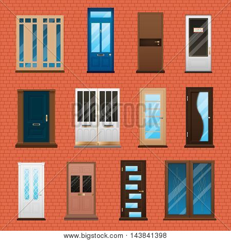 Various type and material closed double and single house doors set on brick wall background flat isolated vector illustration