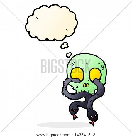 cartoon skull with snakes with thought bubble