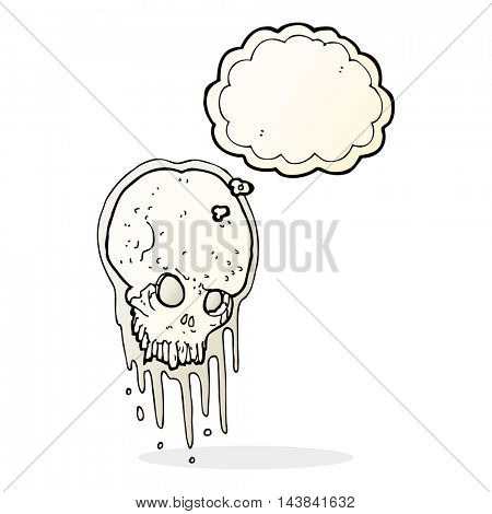 cartoon scary skull with thought bubble
