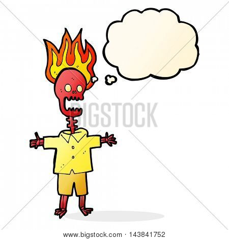 cartoon flaming skeleton with thought bubble