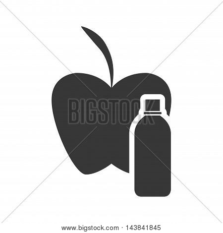 apple drink beverage healthy organic food silhouette icon. Flat and Isolated design. Vector illustration