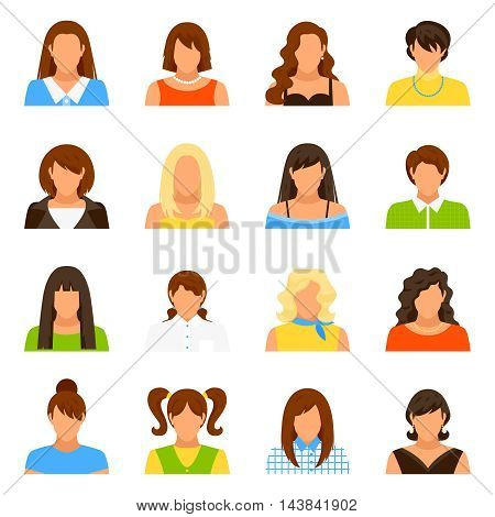 Woman avatar icons set with hairstyle and clothes flat isolated vector illustration