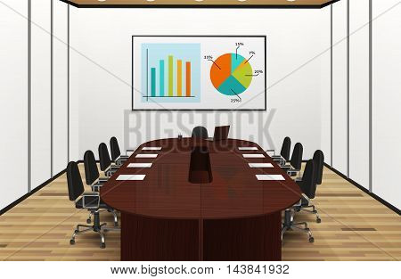 Conference room light interior realistic design with statistics on the screen vector illustration