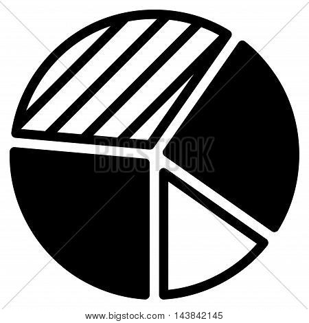 Pie Chart icon. Vector style is flat iconic symbol with rounded angles, black color, white background.