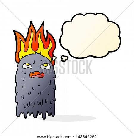 burning cartoon ghost with thought bubble