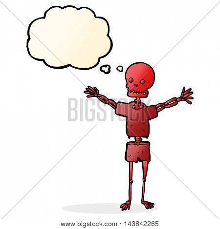 cartoon skeleton in clothes with thought bubble
