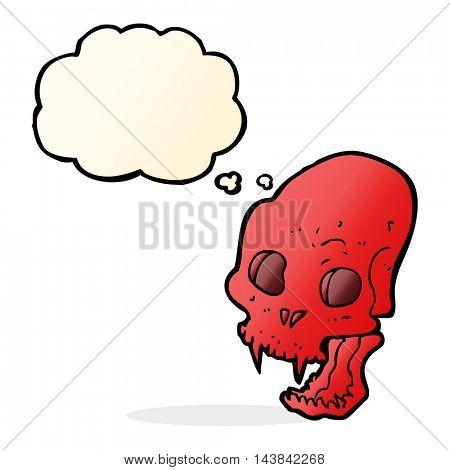 cartoon spooky vampire skull with thought bubble