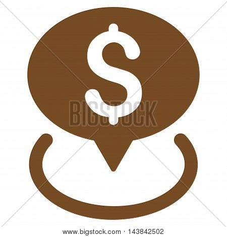 Bank Location icon. Vector style is flat iconic symbol with rounded angles, brown color, white background.