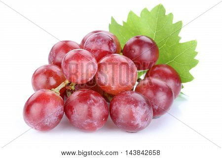 Grapes Red Fruits Isolated On White