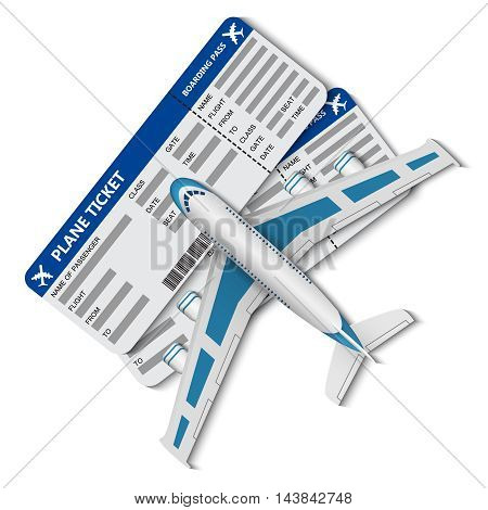 illustration of flight tickets with airplane on the white background.