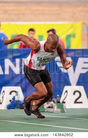 VIENNA, AUSTRIA - JANUARY 31, 2015: Fabiano Gilberto Da Silva (#188 Brazil) competes in the men's 60m event during an indoor track and field event.