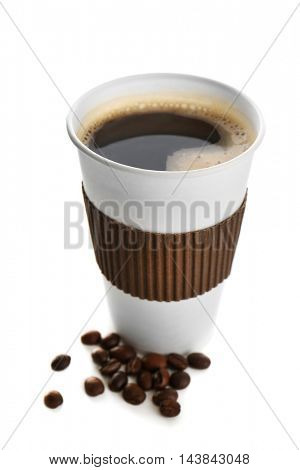 Cup of coffee with beans, isolated on white